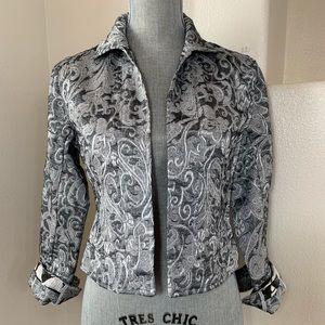 CHICO's Women Black/Grey Career Blazer/Jacket Sz 0
